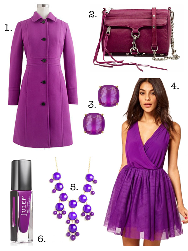 Jenny in Jacquard; NYC fashion blogger; style blog; online shopping; J.Crew Double-Cloth Lady Coat in Fresh Plum (worn by Malia Obama at Inauguration 2013); Rebecca Minkoff Mini MAC Clutch in Fresia; Kate Spade Small Square Stud Earrings; ASOS Party Dress with Velvet Trim; Bauble Bar Potpourri Bib Necklace; Julep Bette Bombshell purple nailpolish