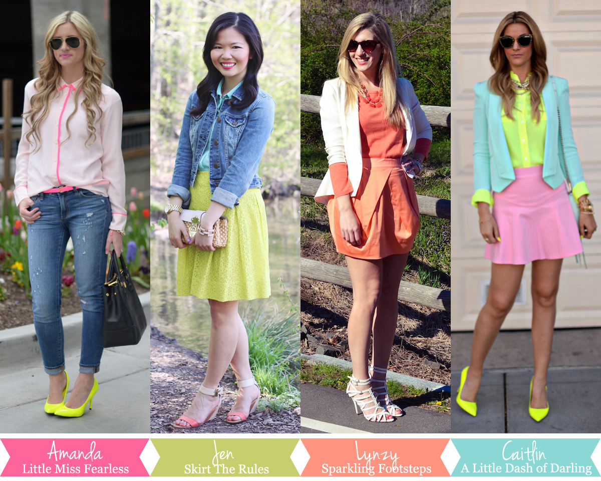 Skirt The Rules Blog; NYC fashion blog; style blog; spring outfit photos; neon and pastels; blogger collaboration; A Little Dash of Darling; Sparkling Footsteps; Little Miss Fearless