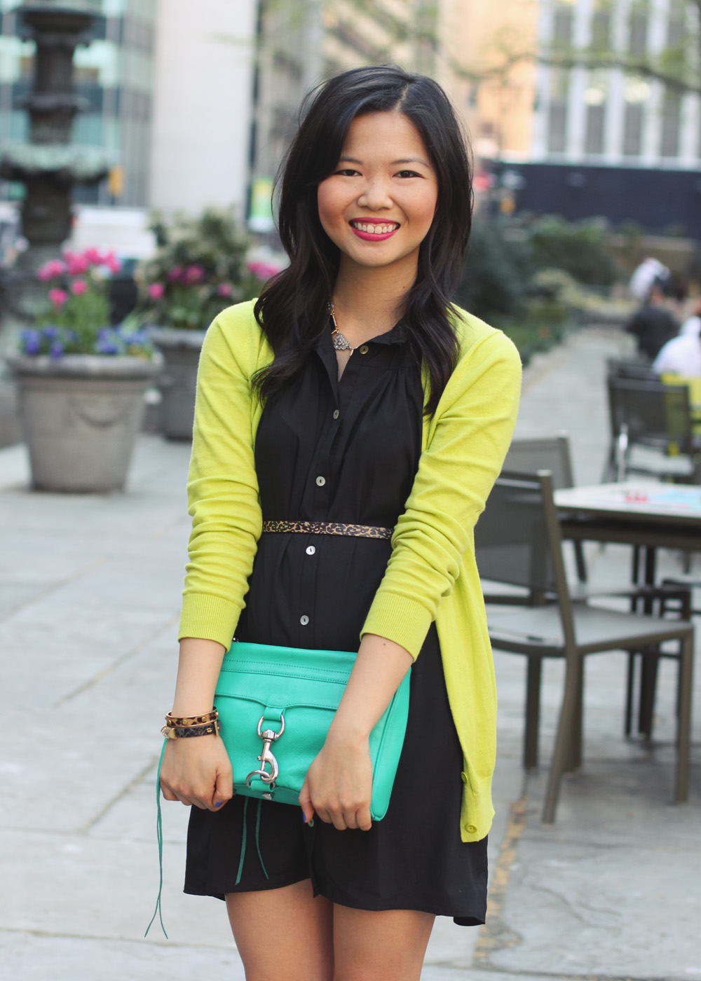 Skirt The Rules Blog; NYC fashion blogger; style blog; spring outfit photos; black and neon outfit; Tobi black button up dress; Gap neon green cardigan; Sequin black and gold necklace; H&M leopard skinny belt; Rebecca Minkoff turquoise MAC clutch; C. Wonder leopard skinny cuff; Juicy Couture pave pyramid bracelet; Sam Edelman black and brown wedges; Essie's Butler Please