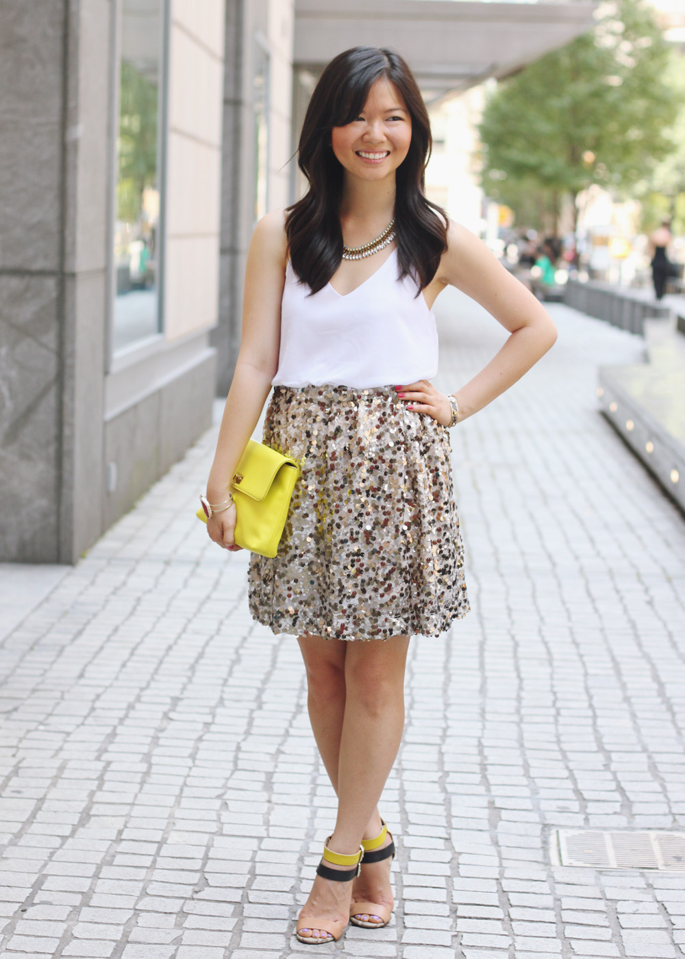 a5f62dd7d146 summer sequins. Skirt The Rules Blog; NYC fashion blogger; style blog;  summer outfit photo;
