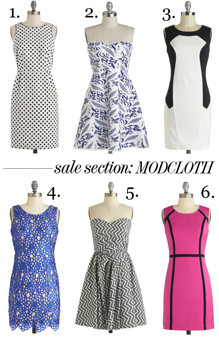 Skirt The Rules Blog; NYC fashion blogger; style blog; sale shopping collage; ModCloth Last Hurrah Sale;  Tidal Party blue lace Dress; Minimalist Chic black and white colorblock Dress; Color, Texture, Flatter Dress; Going On Contour hot pink Dress; Best Ben-Day Ever black and white polka dot Dress; Make It Zig Dress;