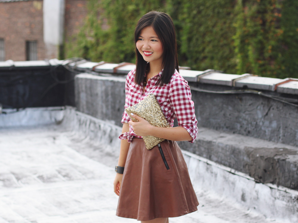 Skirt The Rules Blog; NYC fashion blogger; style blog; fall outfit photo; how to wear a brown leather skirt; Forever 21 maroon gingham button up shirt; Le Tote brown leather skirt; Le Tote gold hardware leather cuff; C. Wonder tortoise square link necklace; Hello Fab gold glam sequin clutch; Diane von Furstenberg DVF April leopard calf hair pumps