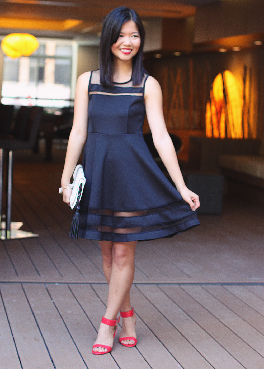 Skirt The Rules Blog; NYC fashion blogger; style blog; Le Tote black mesh stripe dress; ILY Couture Basilissa pave link bracelet; L.A.M.B. black and white clutch; Prabal Garung x Target red wedge sandals