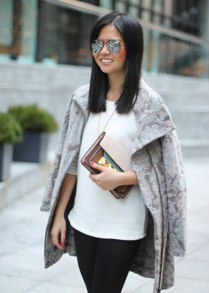 Abstract Print Gray Pink Coat