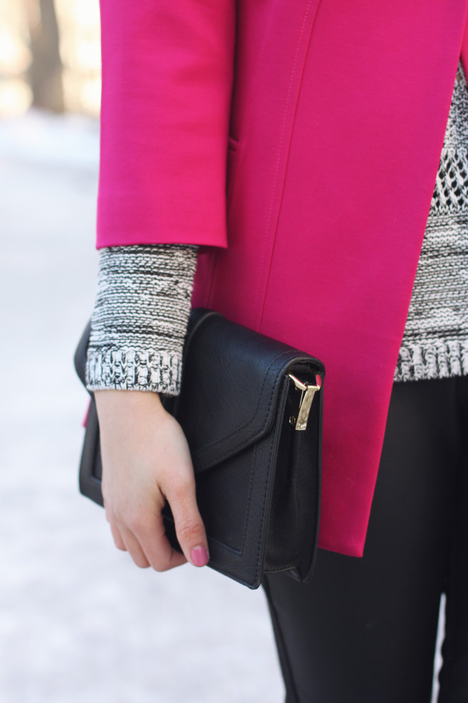 3/4 Sleeves Hot Pink Swing Coat