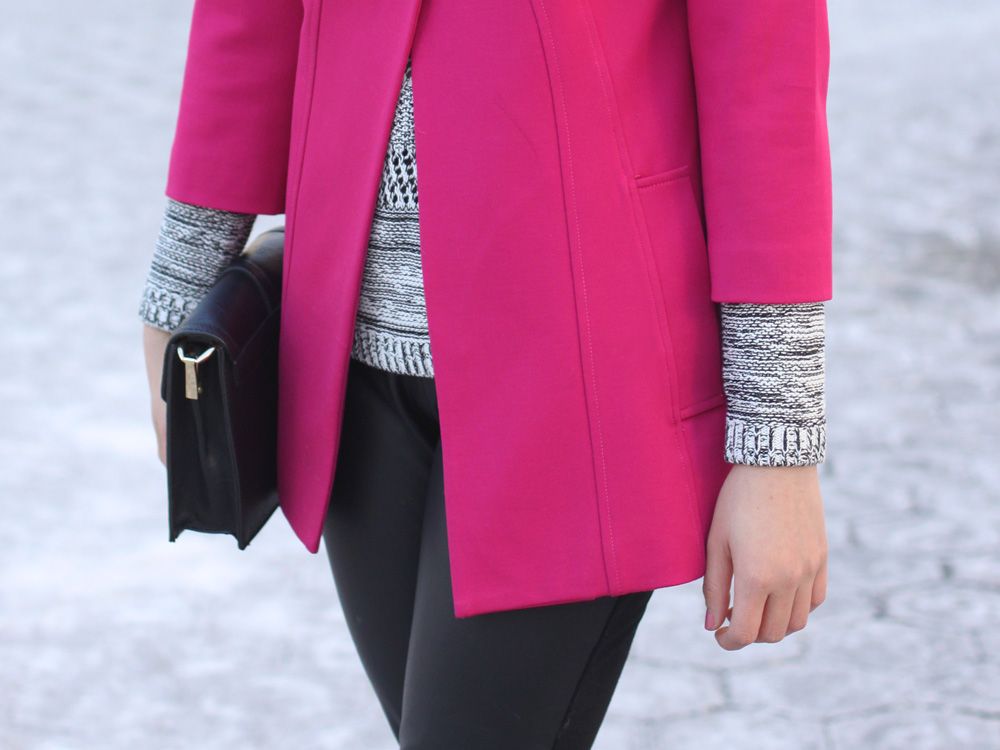 Pink Swing Coat & Faux Leather Pants