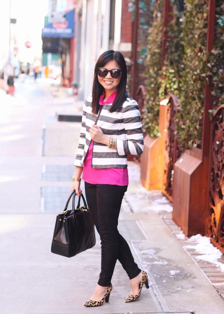 LOFT Gray and White Striped Jacket