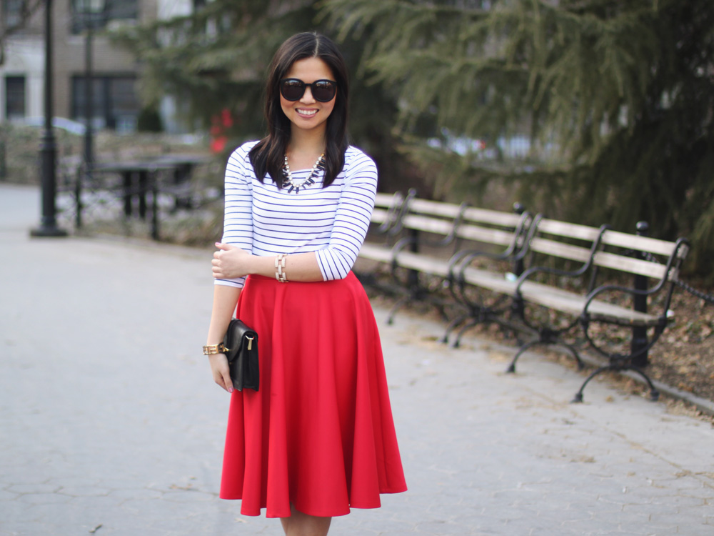 Black & White Stripes / Red Full Midi Skirt