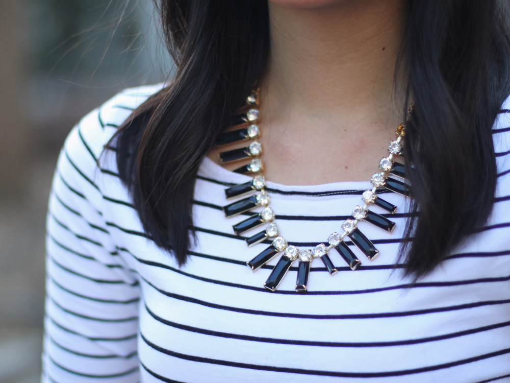 Black Crystal Necklace & Striped Shirt