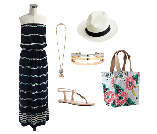 Striped Maxi Dress and Floral Tote