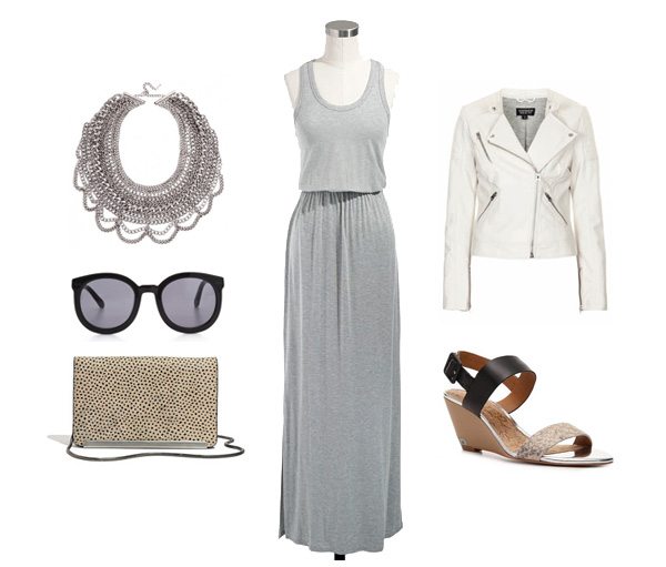 Grey Maxi Dress & White Moto Jacket
