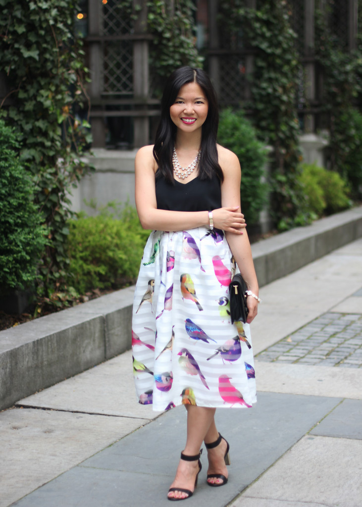 Colorful Bird Print Midi Skirt