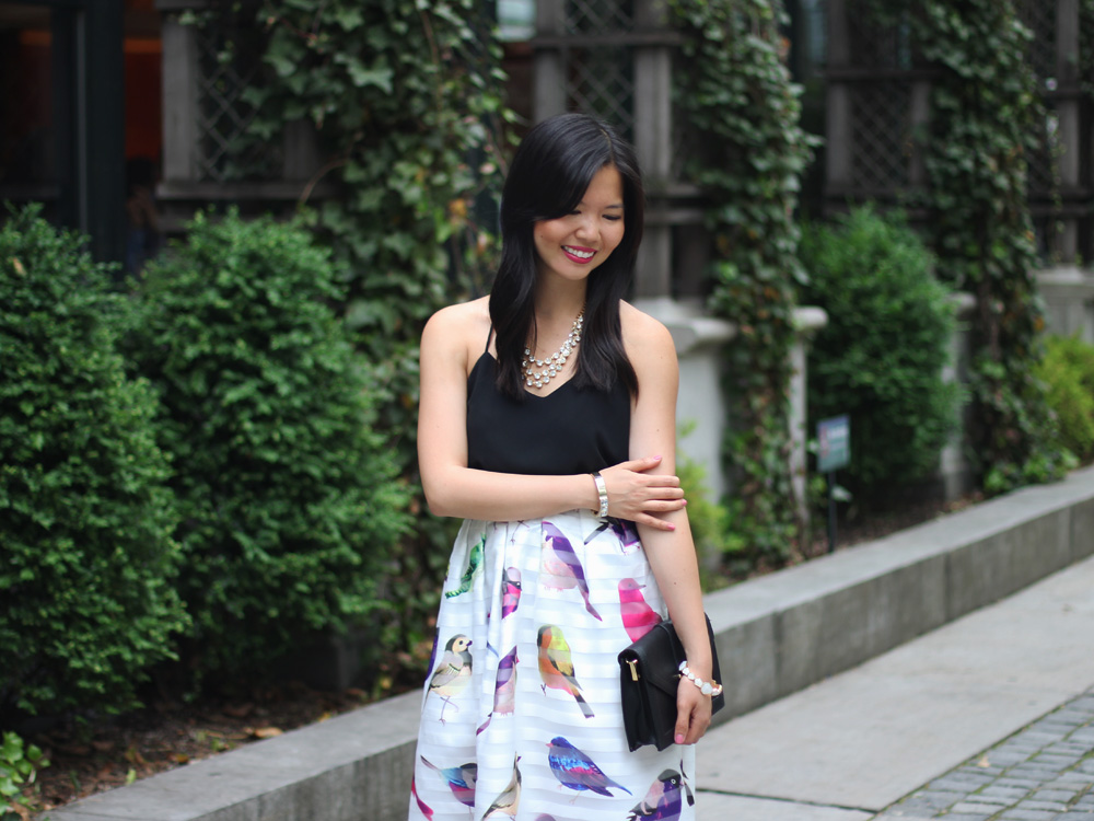 Chicwish Bird Print Midi Skirt