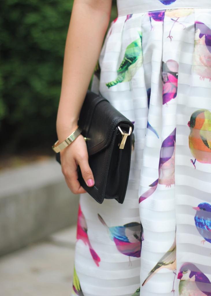 Colorful Bird Print Midi Skirt