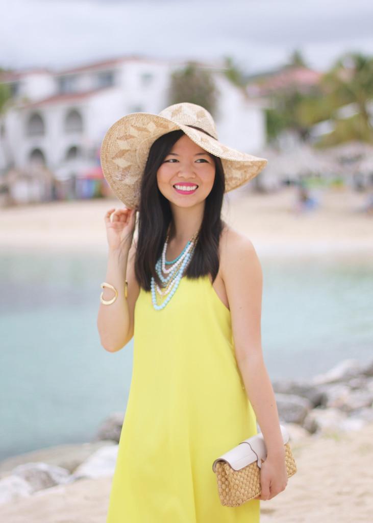 Yellow Summer Dress & Straw Hat