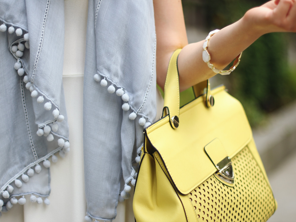 Baby Blue Scarf & Yellow Perforated Bag