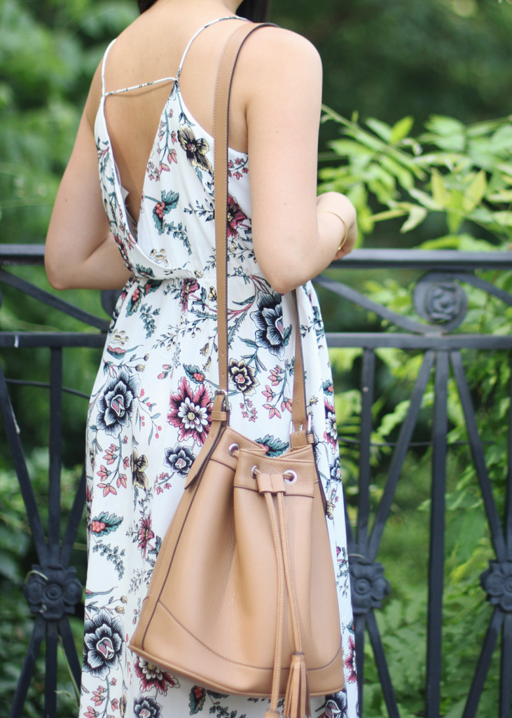 Floral Maxi Dress & Tan Bucket Bag