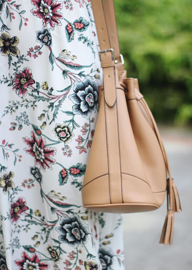 Floral Maxi & Tan Bucket Bag