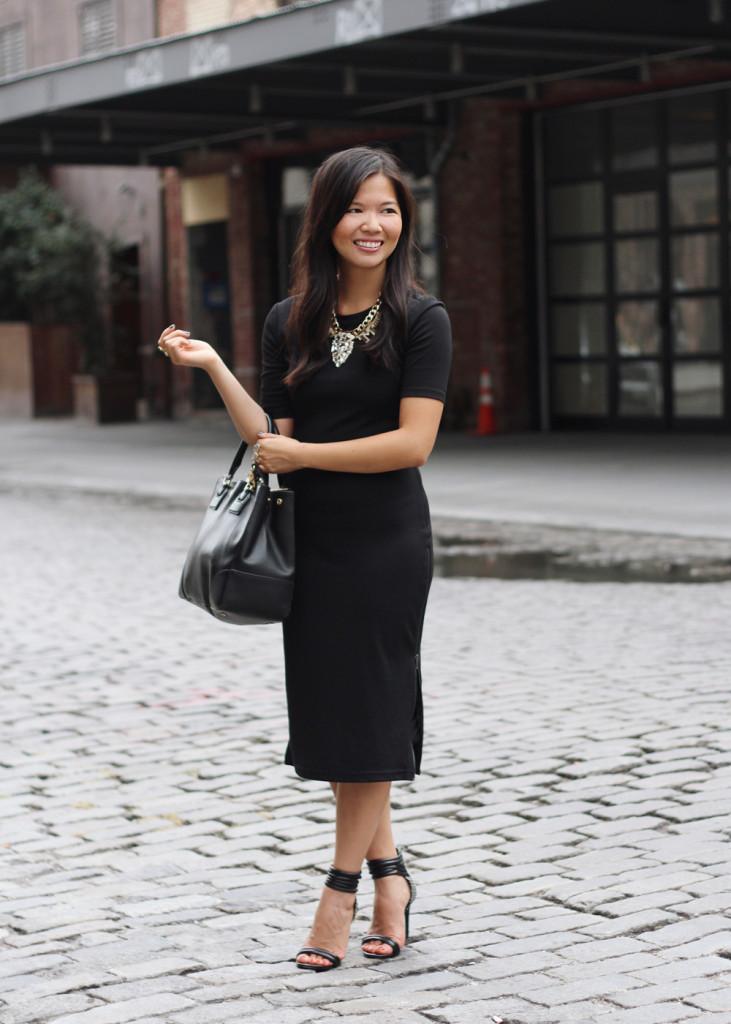 Black Bodycon Midi Dress with Side Zippers