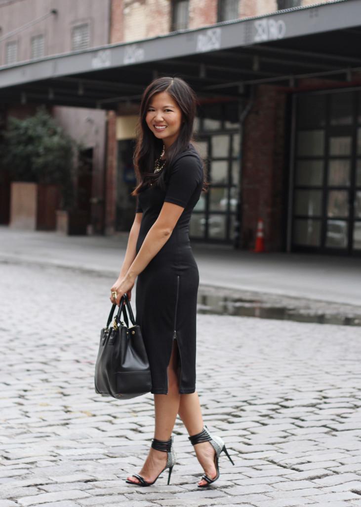 Black Bodycon Dress with Side Zips
