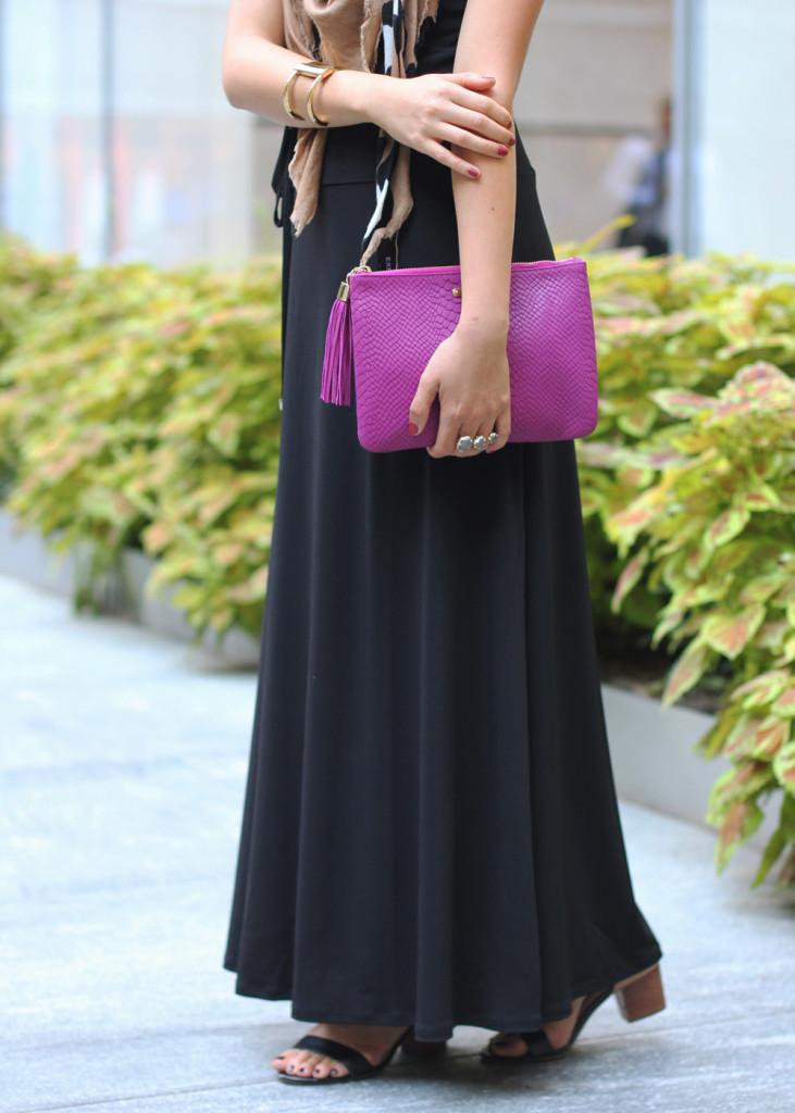 Black Dress & Purple Clutch