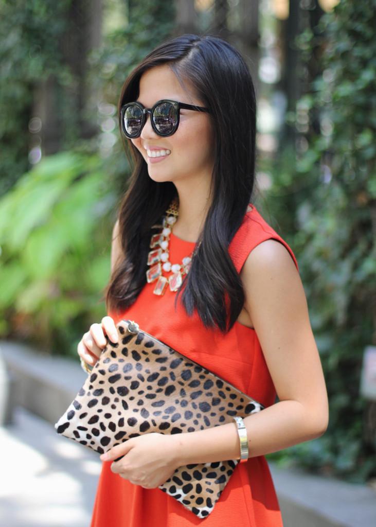 Bright Red Dress & Leopard Clutch