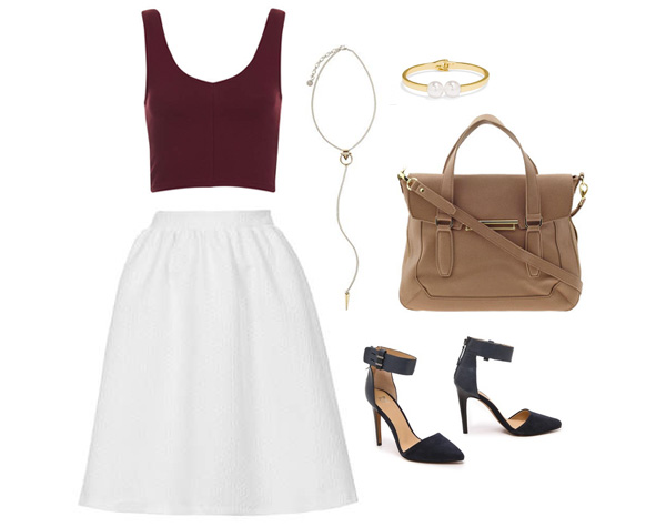 White A-Line Skirt & Fall Accessories