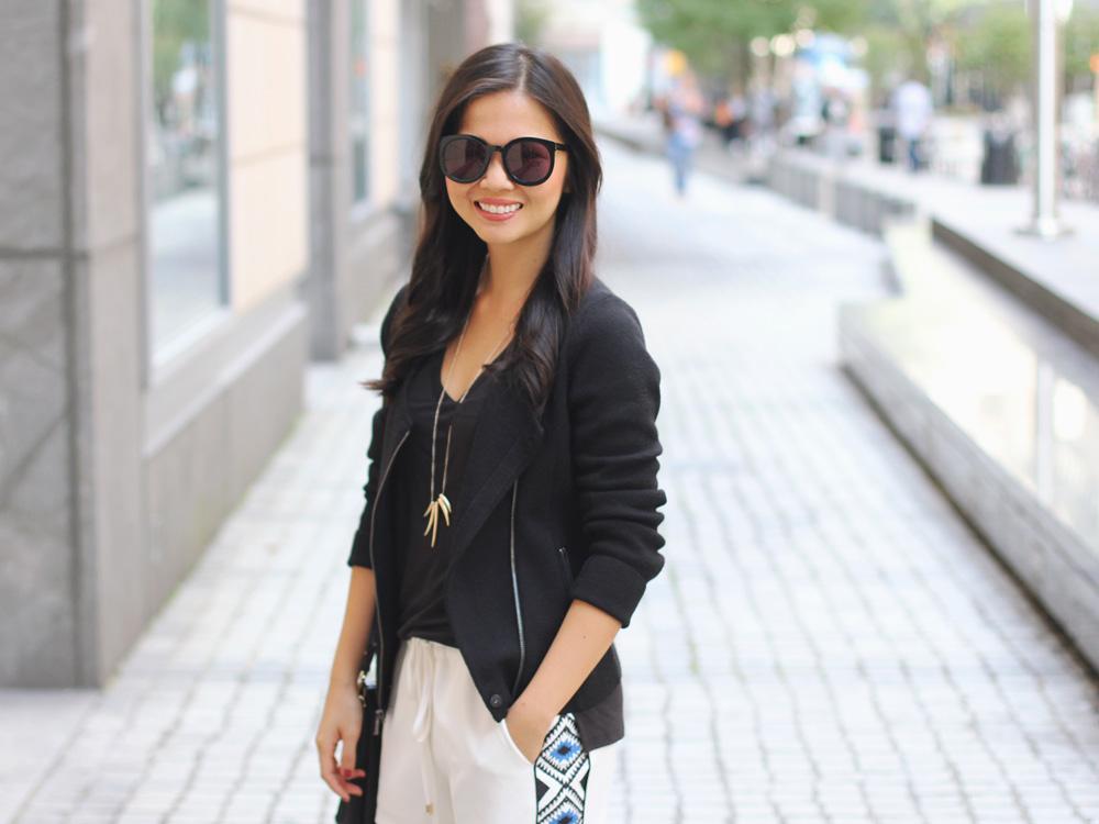 Black Knit Moto Jacket & White Drawstring Shorts