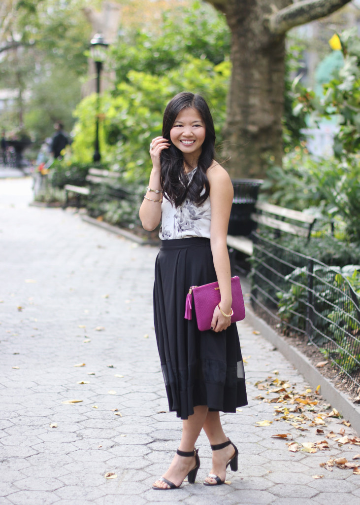 Black Midi Skirt & Orchid Leather Clutch