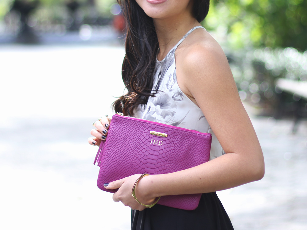 Radiant Orchid Leather Clutch