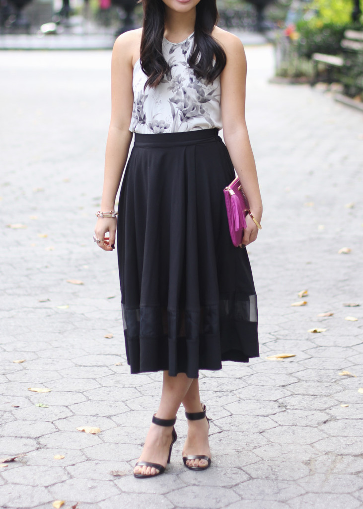 Black Midi Skirt with Mesh Stripe