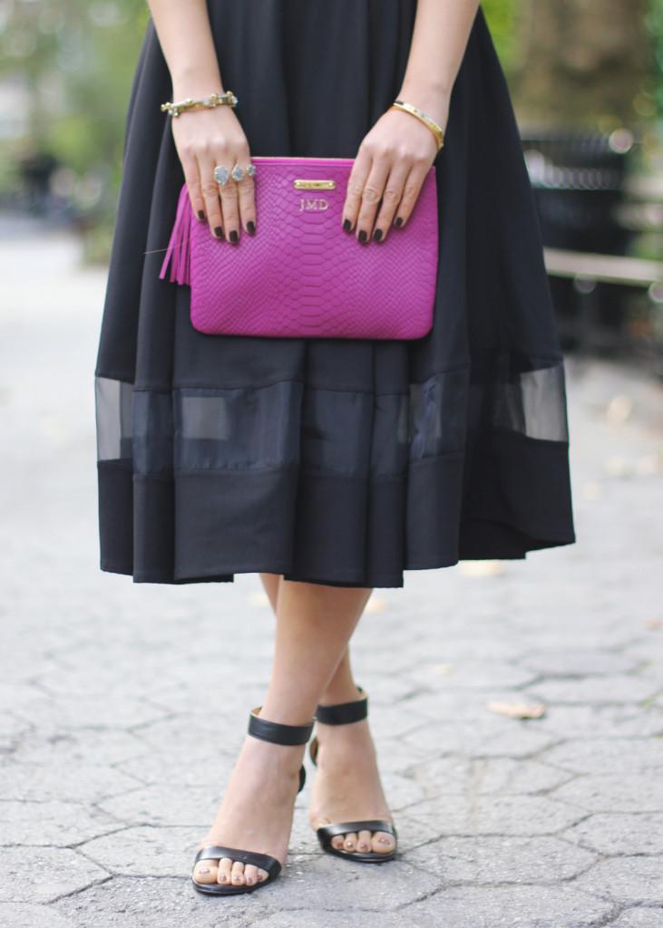 Monogrammed Clutch & Midi Skirt