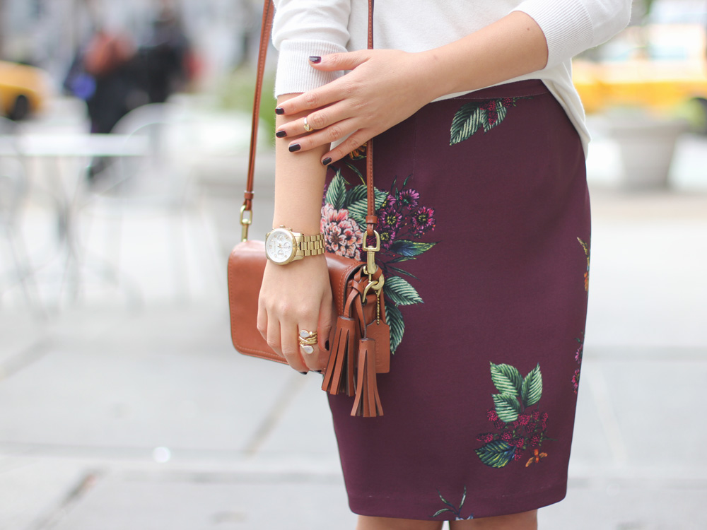 Burgundy Floral Pencil Skirt & Brown Tassel Bag
