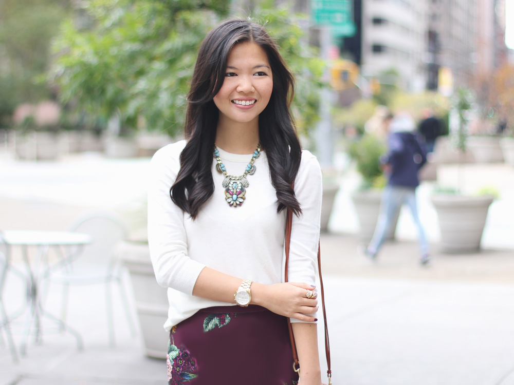 Cream Sweater & Burgundy Floral Skirt