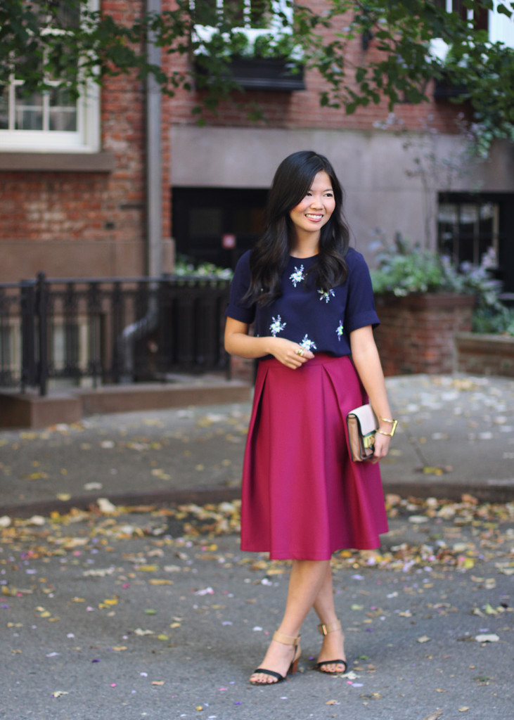 Navy Shirt & Fuschia Midi Skirt