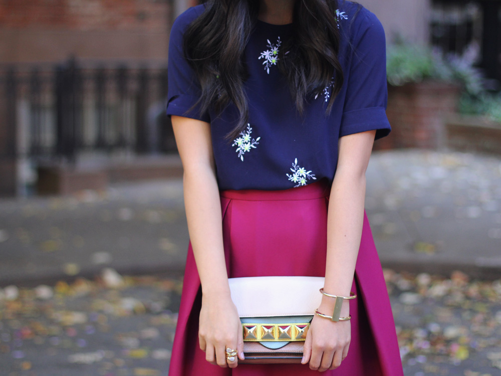 Studded Clutch & Embroidered Top