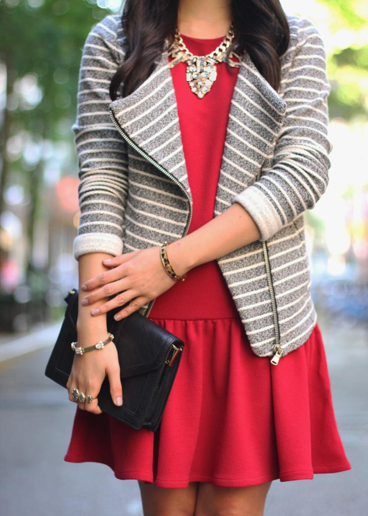 Knit Striped Moto Jacket