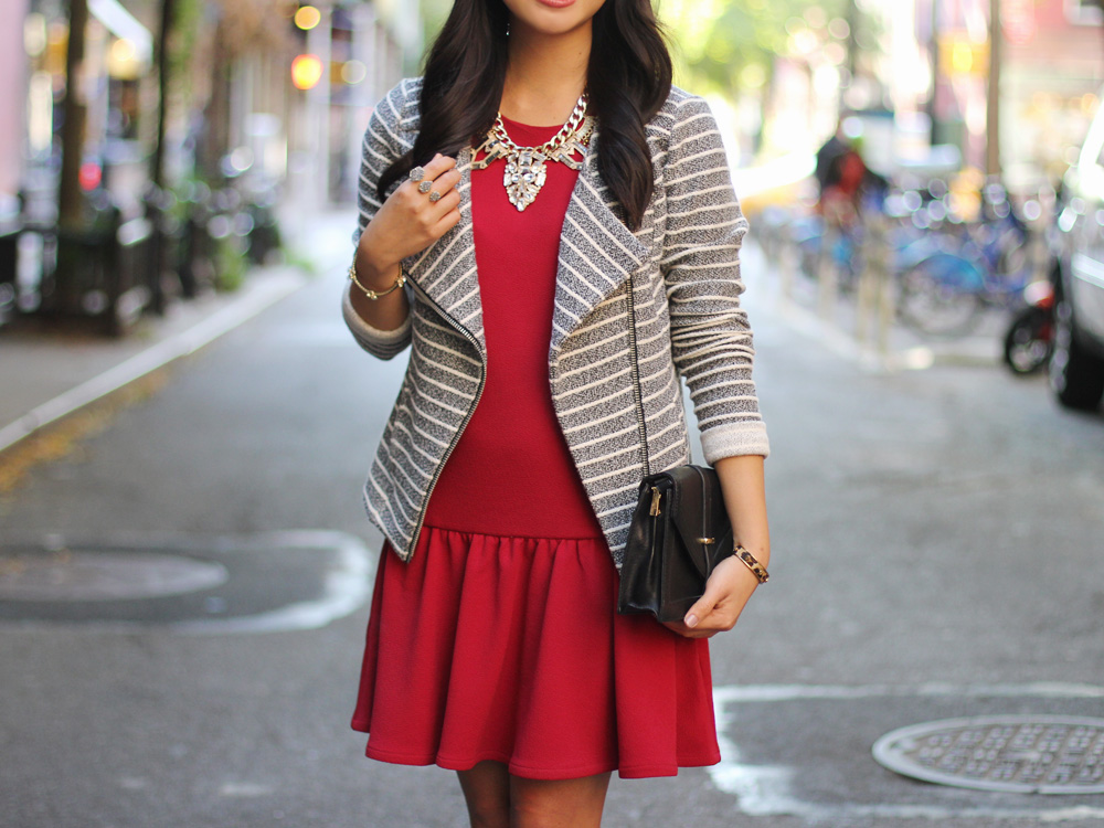Knit Striped Moto Jacket & Red Drop Waist Dress