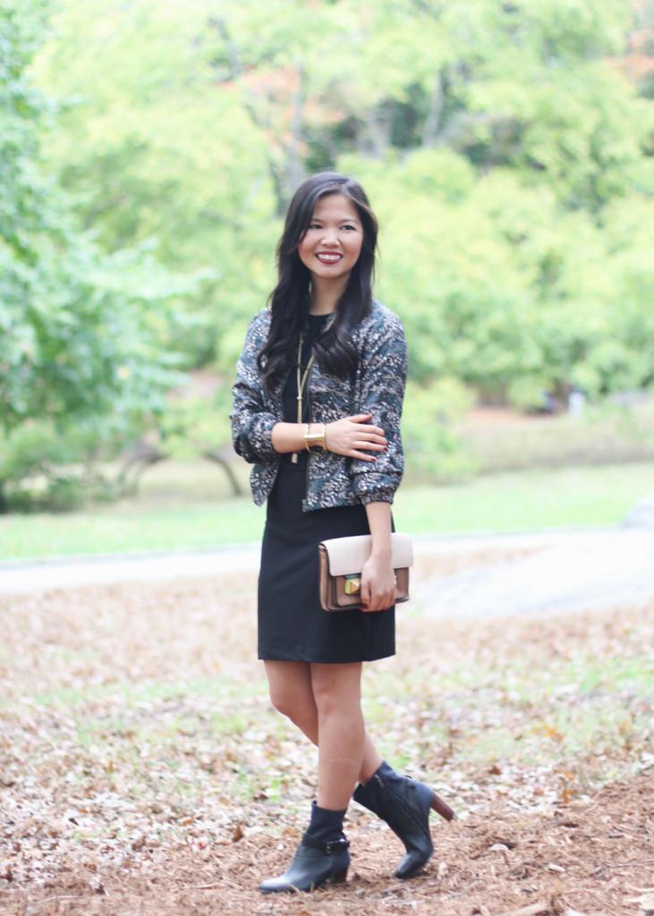 Fall Floral Bomber Jacket & Black Dress