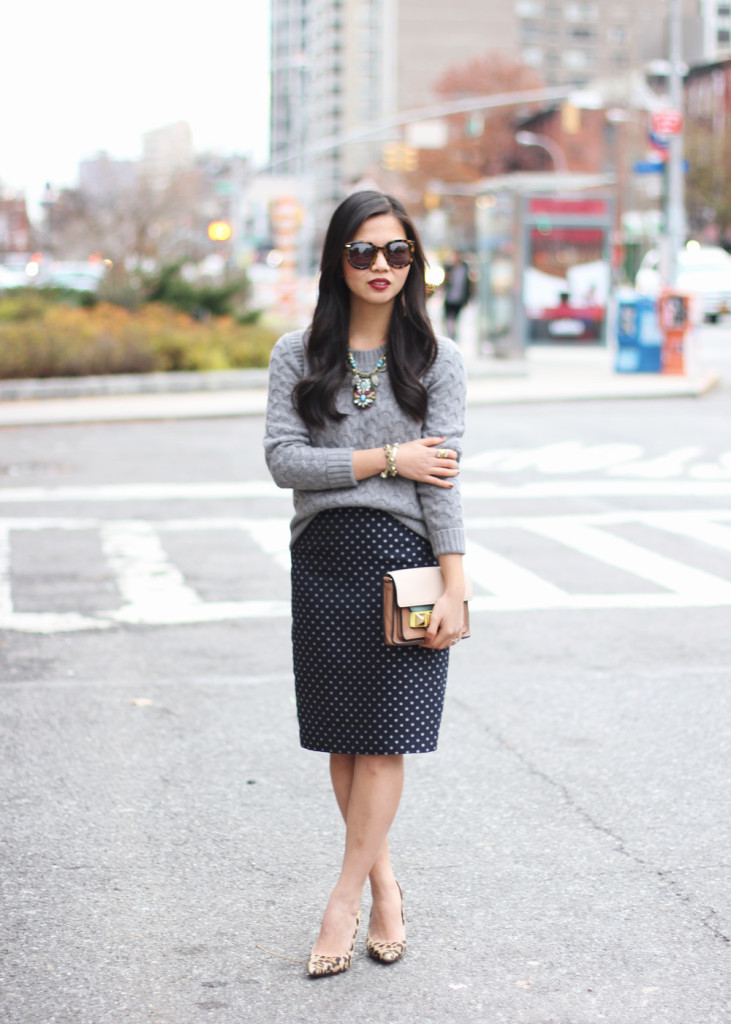 Cable Knit Sweater & Navy Polka Dot Pencil Skirt