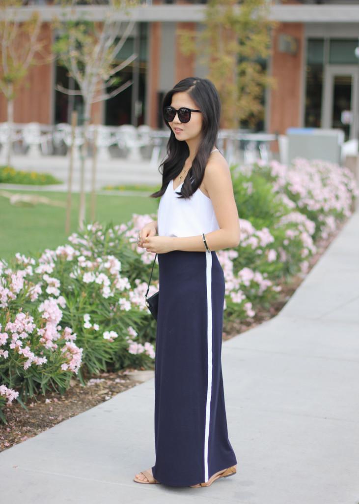 Navy Maxi Skirt with White Stripe