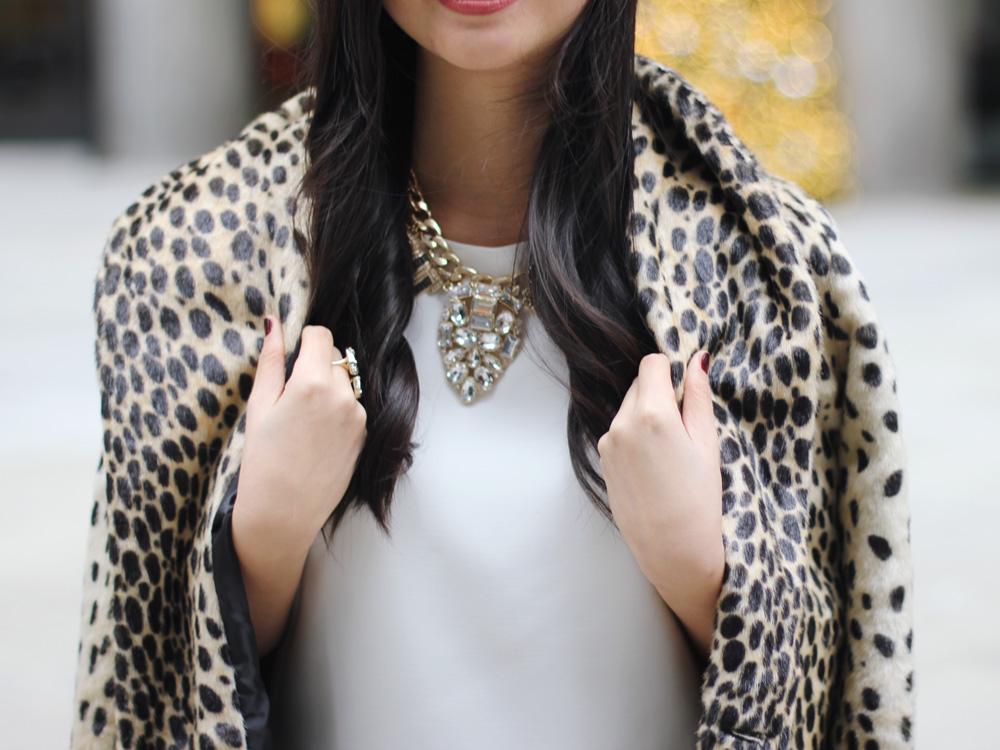 Faux Fur Leopard Coat & Statement Necklace