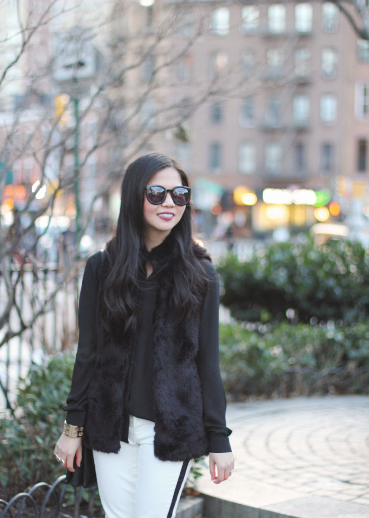 Skirt The Rules // Black Faux Fur Vest & White Jeans