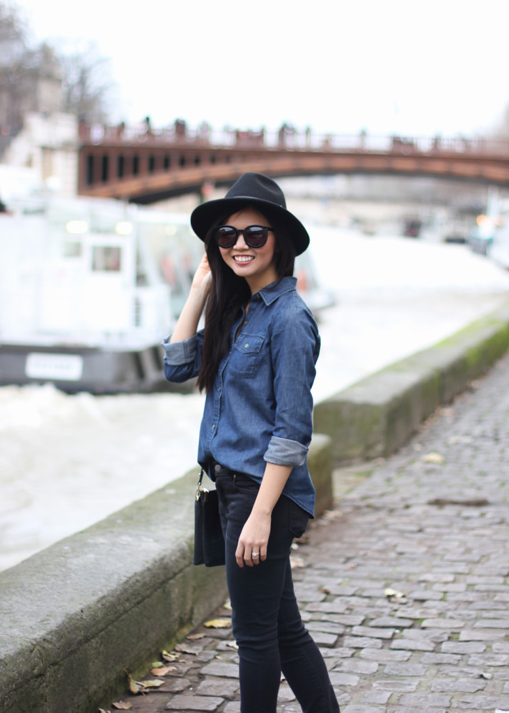 Denim Shirt & Black SKinny Jeans