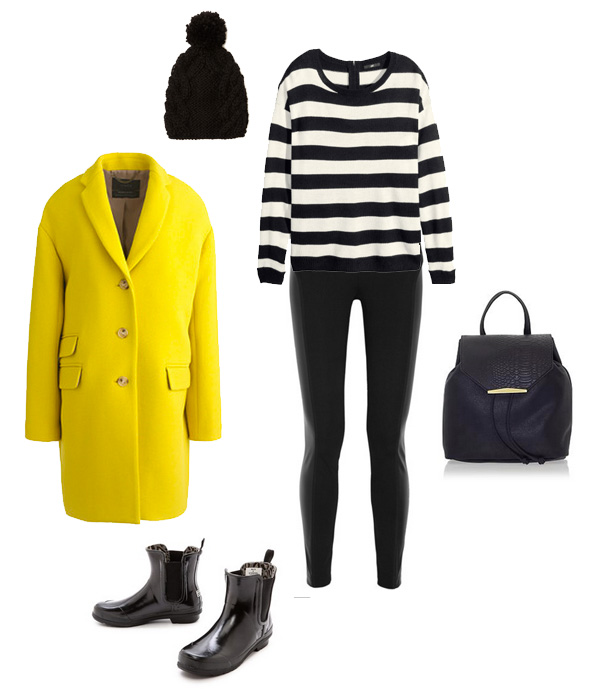 Bright Yellow Coat & Black Accessories