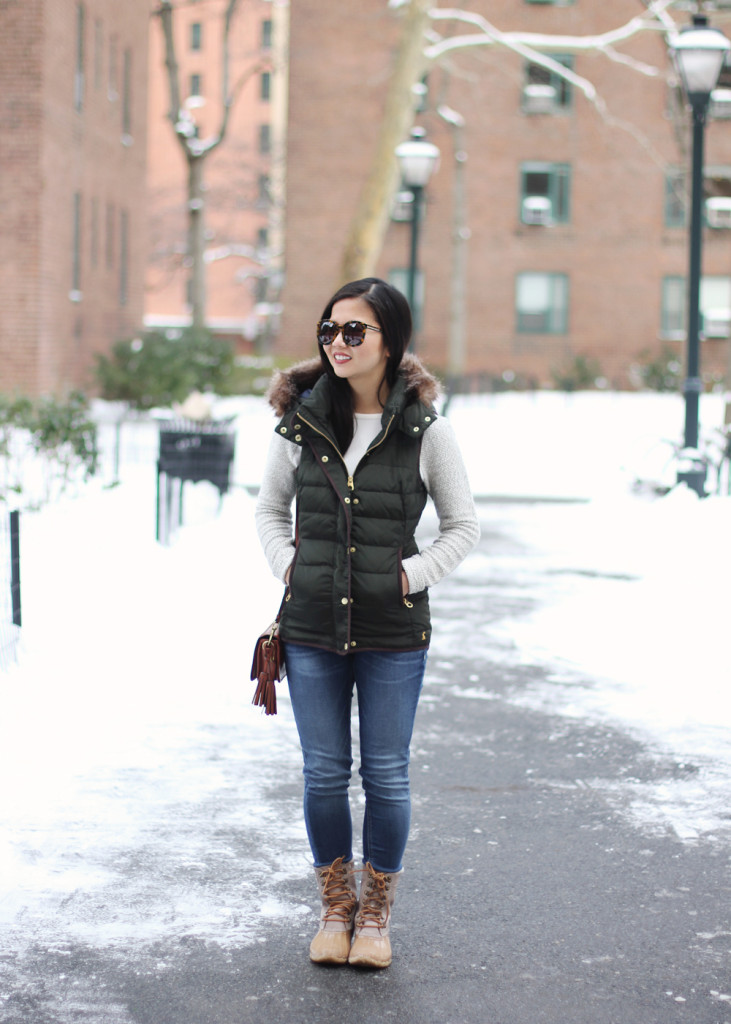Skirt The Rules // Green Puffer Vest & Sperry Top-Sider Snow Boots