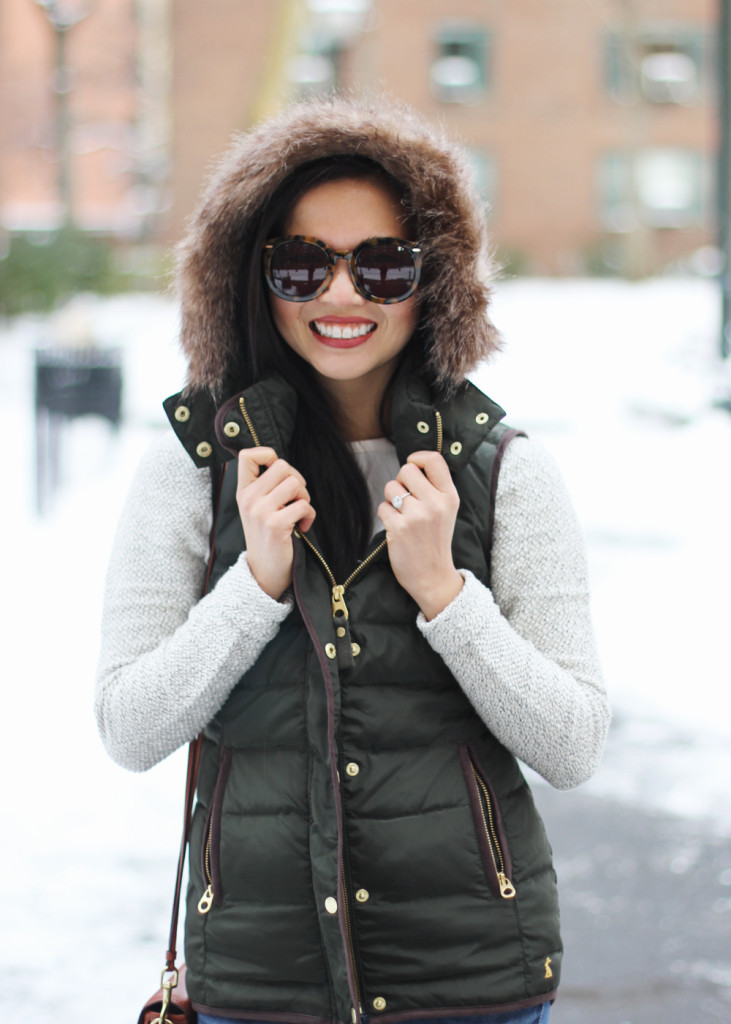 Skirt The Rules // Green Puffer Vest with Faux Fur Trim Hood