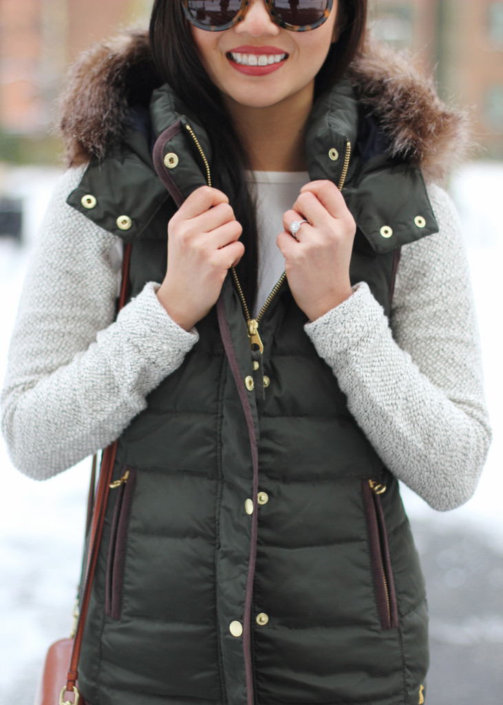 Skirt The Rules // Green Puffer Vest with Faux Fur