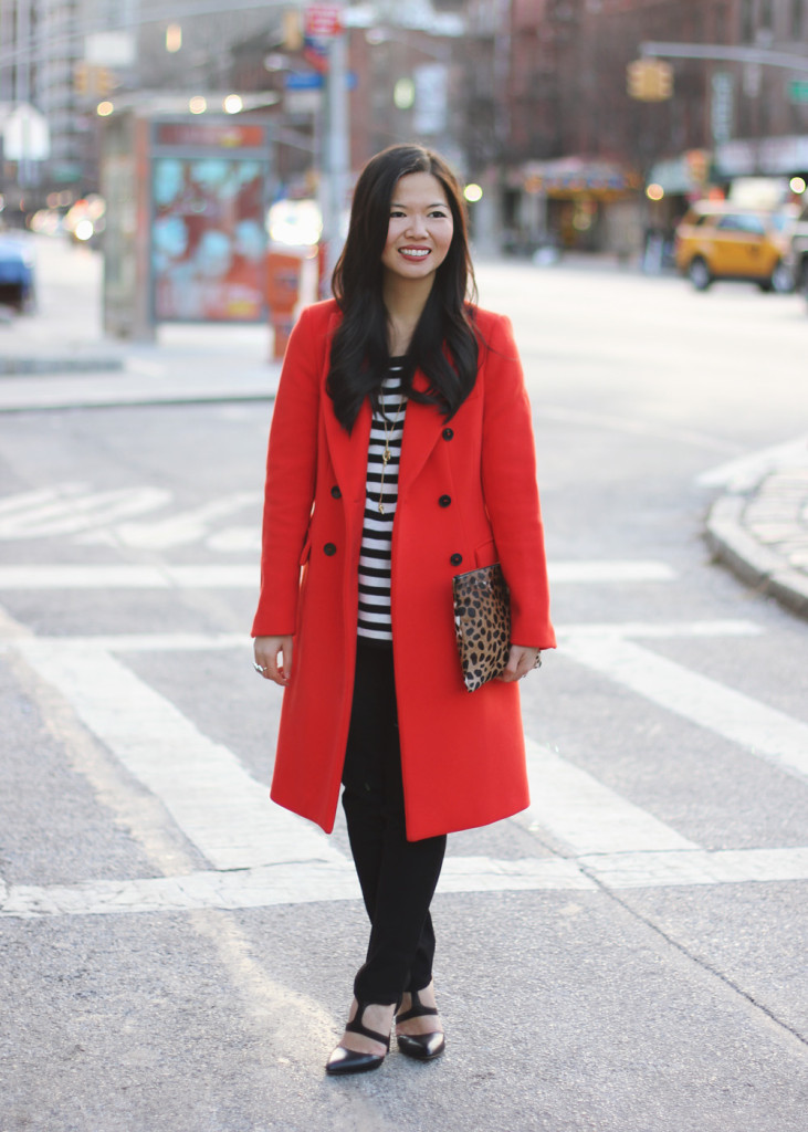 Red Coat & Striped Sweater