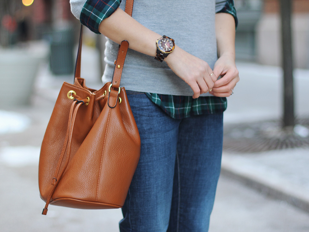 Skirt The Rules // Brown Bucket Bag